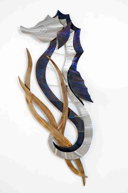 Seahorse Head Up Stainless Steel Wall Art