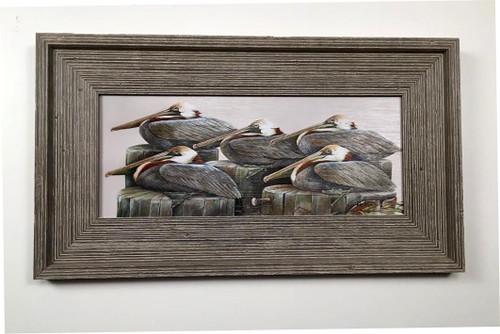 """Pelicans Gathering Framed Artwork 12 x 19"""""""
