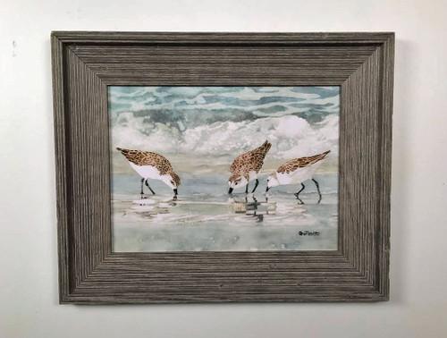 "Sandpipers Framed Wall Art 19 x 21"""