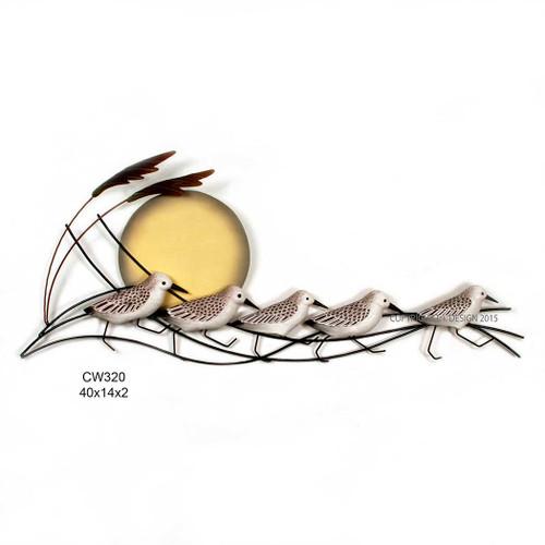Running Wooden Sanderlings - Metal Wall Art