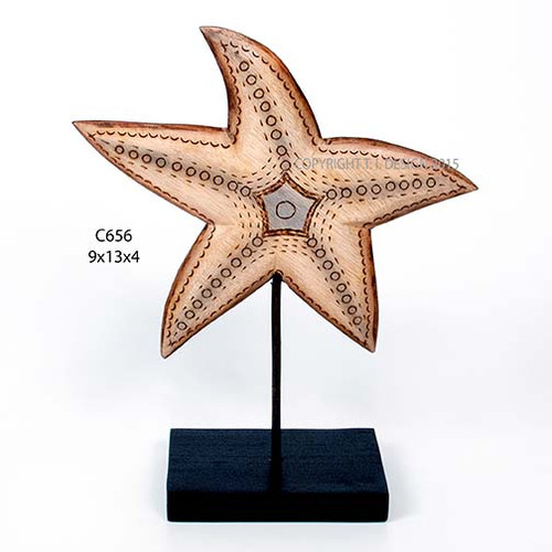Starfish Carved Wood Table Top