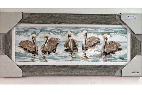 """Large Pelicans Swimming Painting 43"""" x 19"""""""