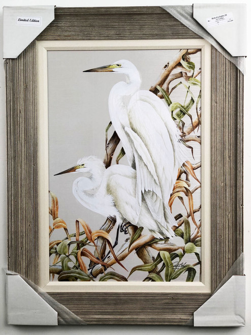 "White Heron painting, large. Real wood frame with 1"" fabric matting."