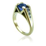 Bespoke Commission - Tanzanite, Diamond & 18ct Gold Engagement Ring