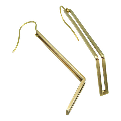 V Dangle 9ct Gold Earrings