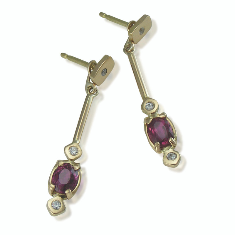100% proceeds to charity ~ One of a kind  ~ 18ct gold Ruby & Diamond earrings