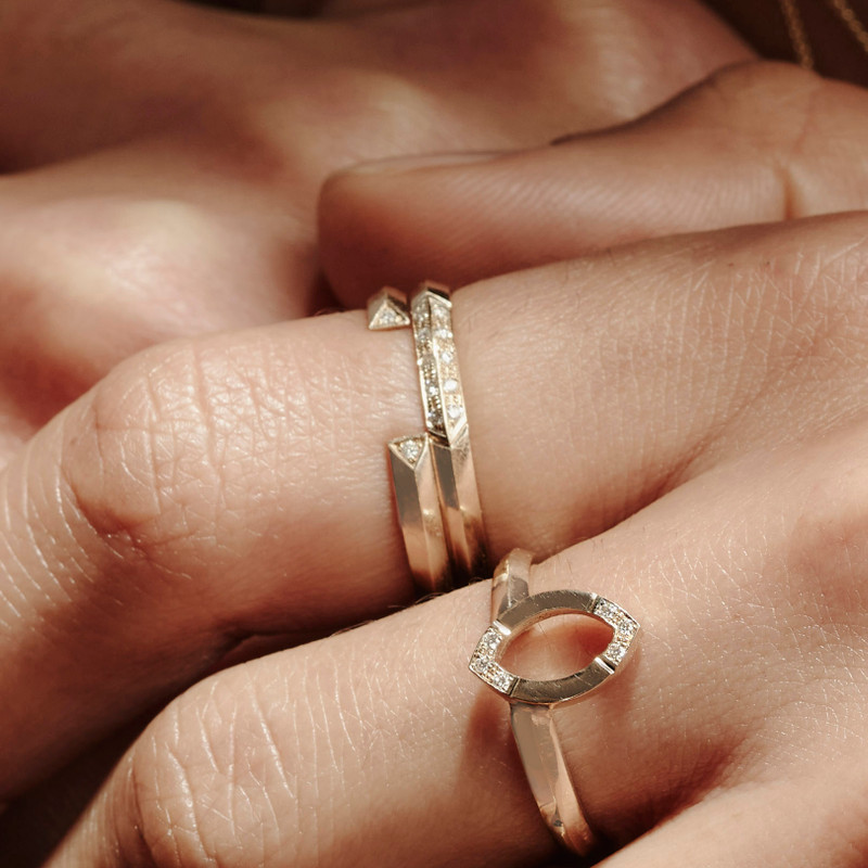 EMBRACE ring shown here stacked with the ALWAYS ring