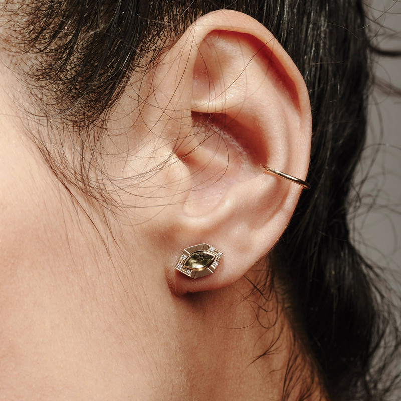 Shown here with our STAY gemstone stud