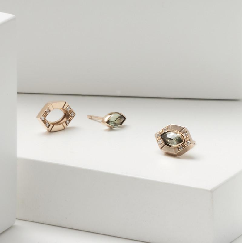 STAY Hexagonal 9ct Gold & Diamond Earring Jacket