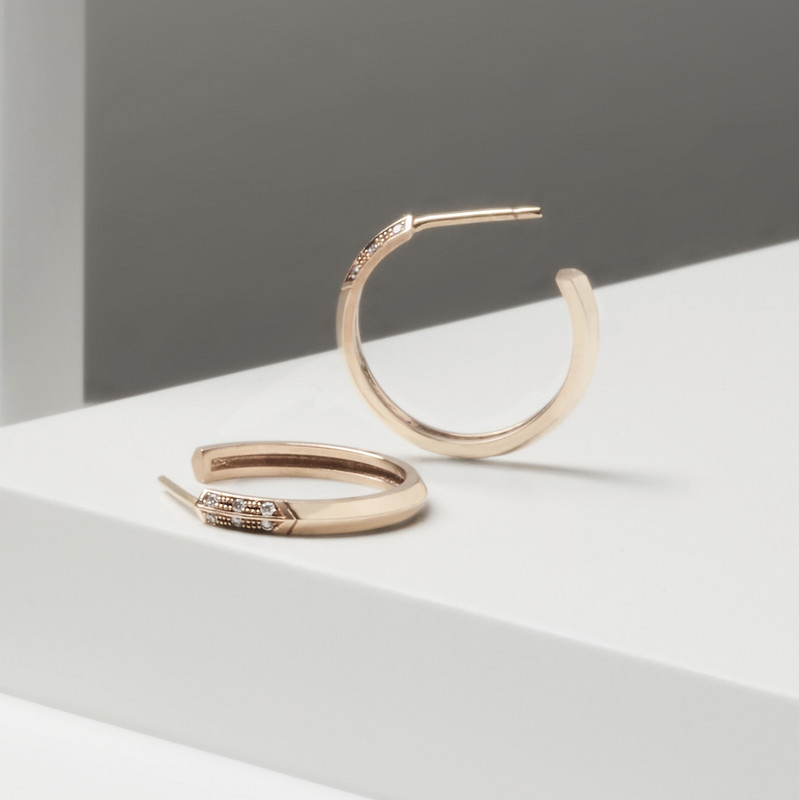 STAY 9ct Gold & Diamond Hoops
