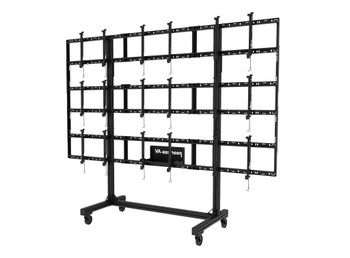 """SmartMount® Portable Video Wall Cart 2x2, 3x2 or 3x3 Configuration for 46"""" to 55"""" Displays, DS-C555-3X3"""