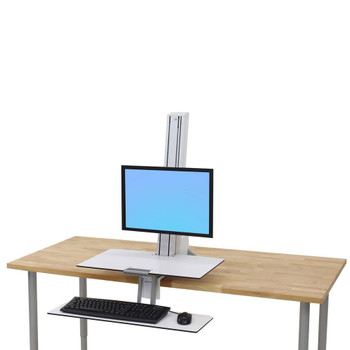 """WorkFit-S, Single LD Workstation with Worksurface Standing Desk Attachment - Front Clamp, =<27"""""""
