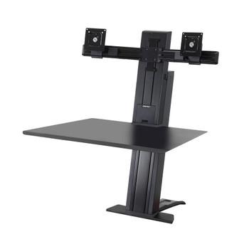 "WorkFit-SR, Dual Monitor, Standing Desk Workstation Sit-Stand Desk Attachment - Rear Clamp, =<24"""