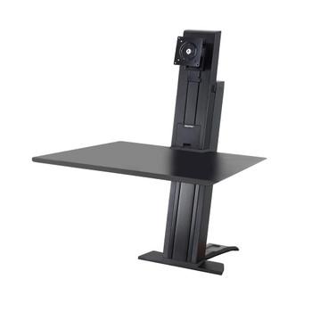 "WorkFit-SR, 1 Monitor, Standing Desk Workstation Sit-Stand Desk Attachment - Rear Clamp, =<24"""