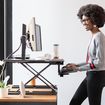 """WorkFit-TX Standing Desk Converter Sit-Stand Desk Workstation - Height-Adjustable Keyboard, =<30"""""""