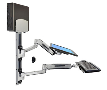LX Sit-Stand Wall Mount System Keyboard & Monitor Mount with Medium CPU Holder, ≤42""