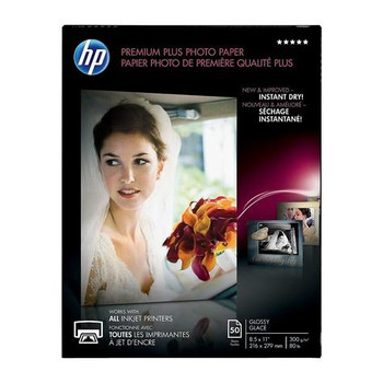 "HP Premium Plus Photo Paper, Glossy, 8-1/2"" x 11"", 50/Pack (CR664)"
