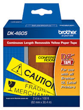 """Brother P-Touch Removable Paper Tape, 2.44""""(W) X 100'(L), Black On Yellow (DK4605)"""