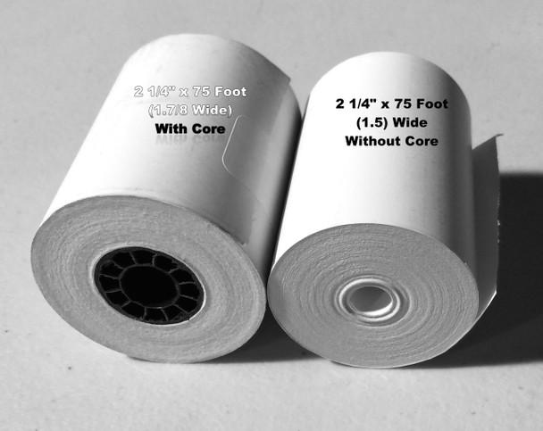 """2 1/4"""" x 75FT (1.5"""") CORELESS BPA FREE Grade A Thermal Debit Rolls 50/Case"""