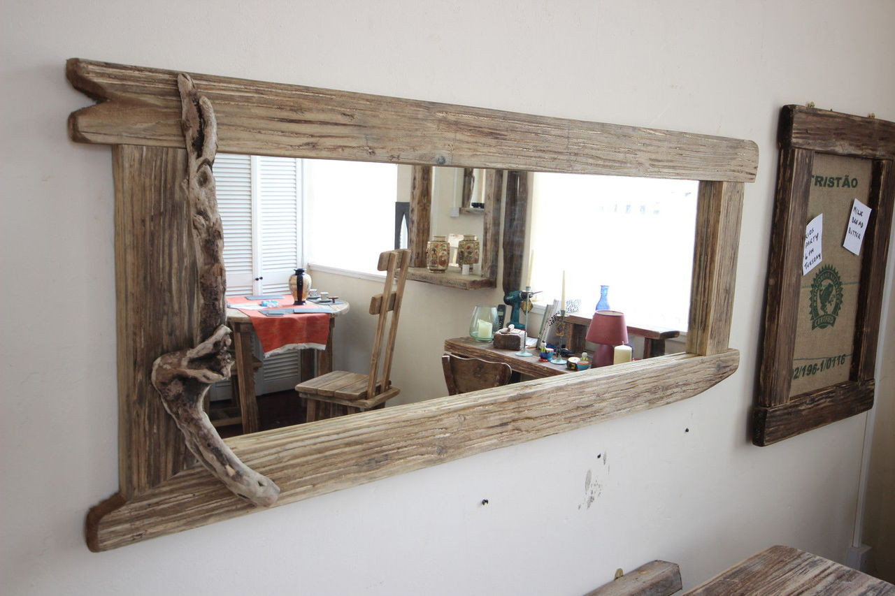 Reclaimed Wood Mirror Small Square Mirror Bathroom Mirror: Large Distressed Wooden Framed Mirror