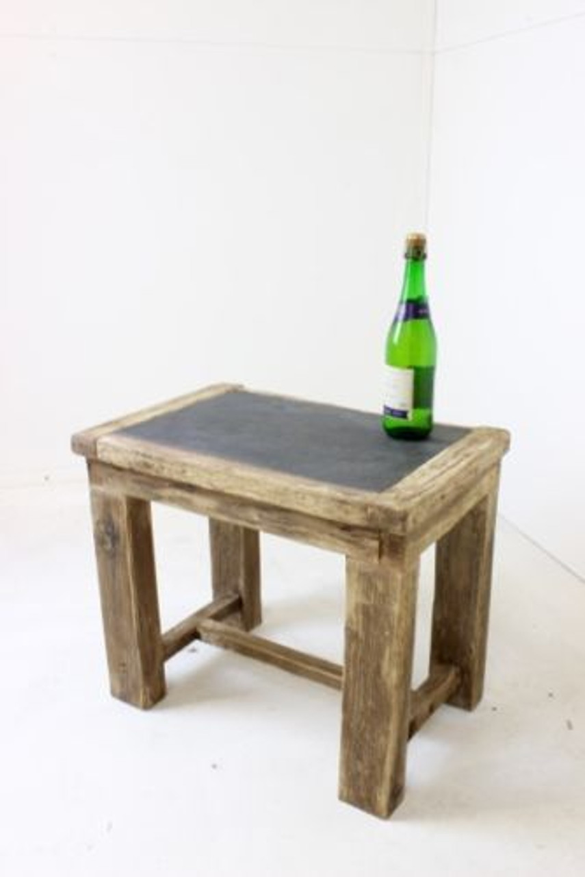 Picture of: Slate Top Driftwood Coffee Side Table Bedside Table Driftwood Interiors