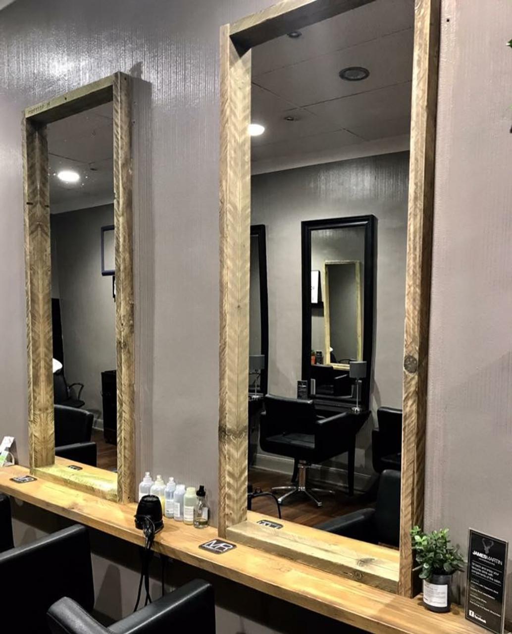 Rustic Industrial Reclaimed Wood Barber Shop Salon Mirror