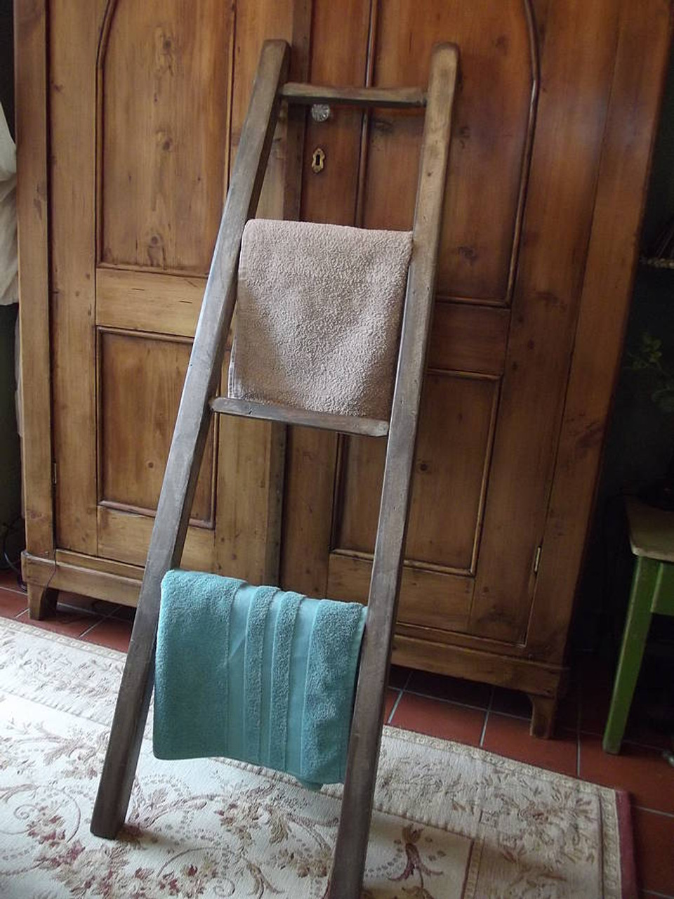 Wooden Vintage Bathroom Towel Ladder