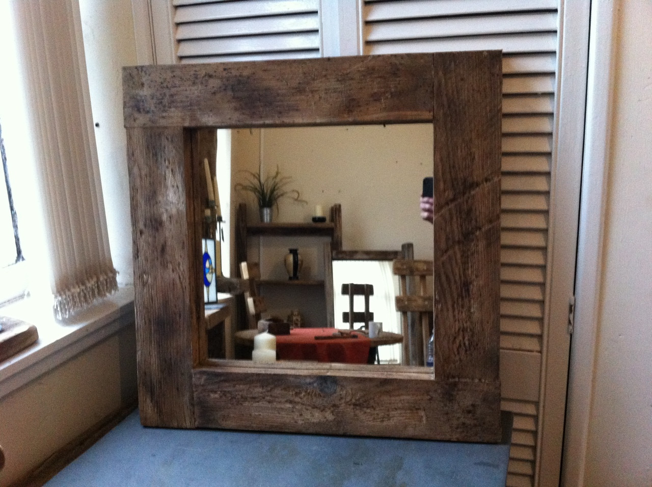 rustic wood mirror cool square chunky frame rustic wooden framed mirror dark brown wood