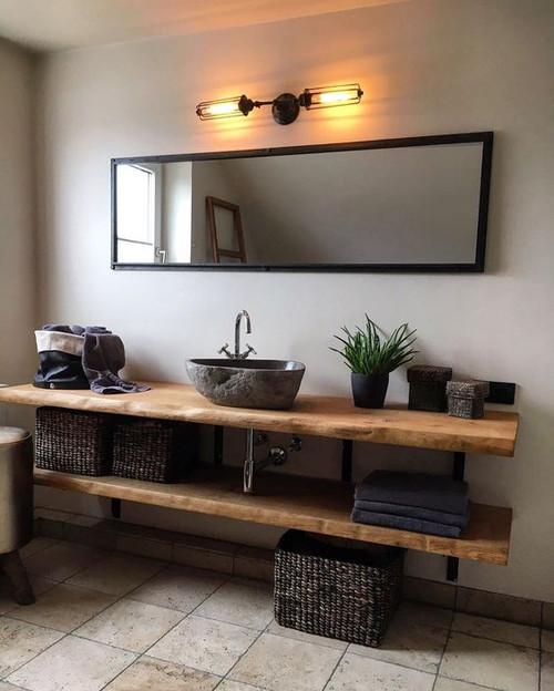 Live Waney Edge Oak Vanity Bathroom Shelf