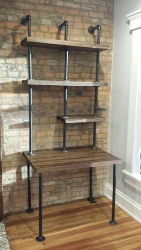 Rustic Industrial Pipe Computer Work Station Desk