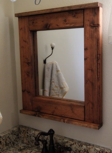 Modern Rustic Farmhouse Wooden Bathroom Mirror Reclaimed Wood Walnut