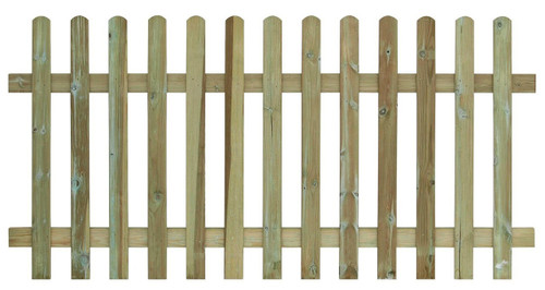 Picket Fence Panel 1.8m(W) x 1200mm(H) Round Top (Natural)