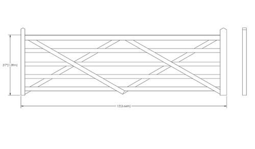 12' - 5 bar Field Gate Universal Hang