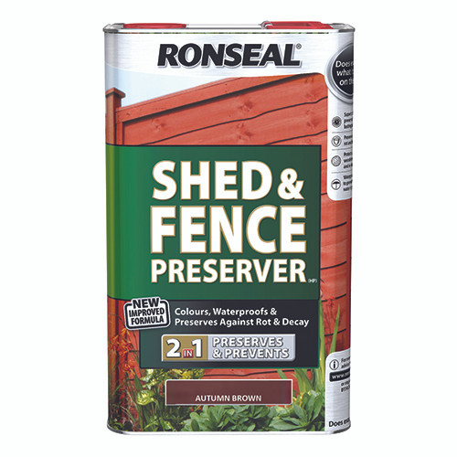 Ronseal Shed & Fence Preserver - Autumn Brown 5L