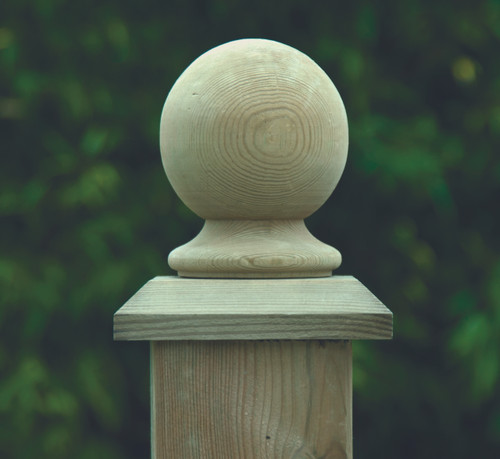 100mm Ball Finial - Pressure Treated (Natural)