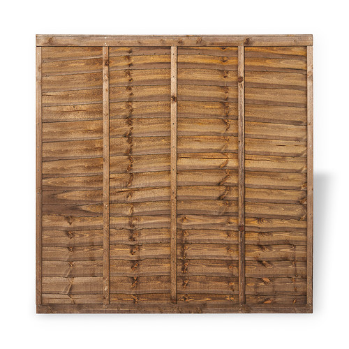 Traditional Lap Fence Panel 1.83m(W) x 1.8m(H) Dip Treated (Brown)