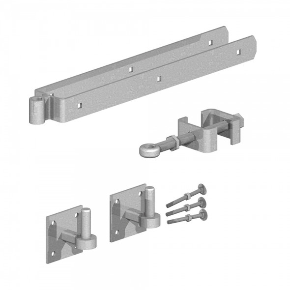 "24"" Galvanised Adjustable Hinge Set With Hooks on Plates (Pre-Packed With Screws)"