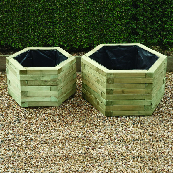Hexagonal Planters (set of 2) - Pressure Treated Green Timber