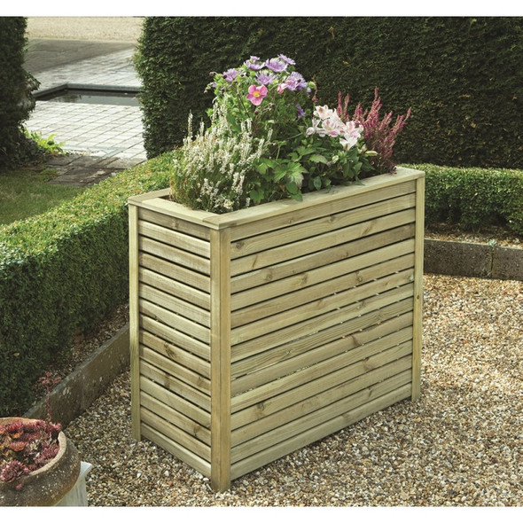 Slatted Rectangular Planter - Pressure Treated Green Timber