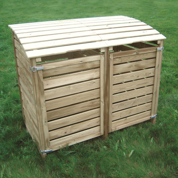 Double Dustbin Cover - Pressure Treated Green Timber