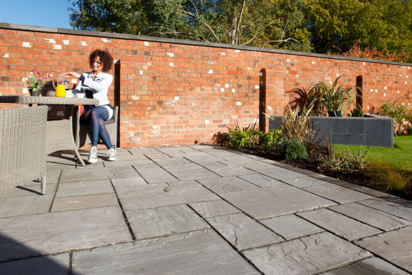 Marshalls Indian Sandstone Calibrated Paving Slab - Grey Multi