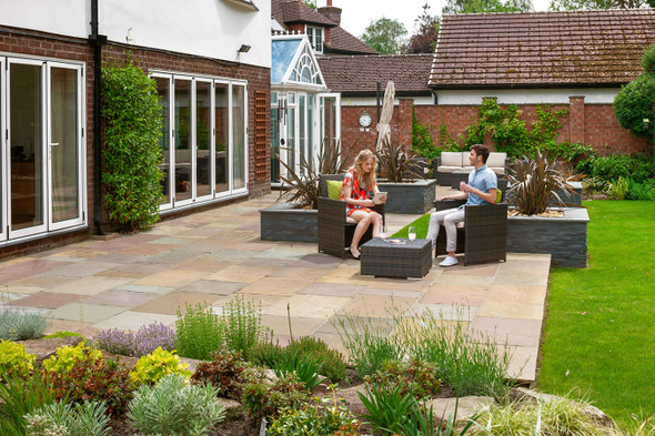 Marshalls Indian Sandstone Calibrated Paving Slab - Buff Multi