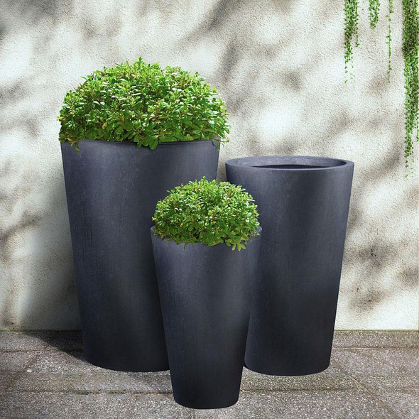 Smooth Polished Dark Grey Fibrestone Round Vase Planter