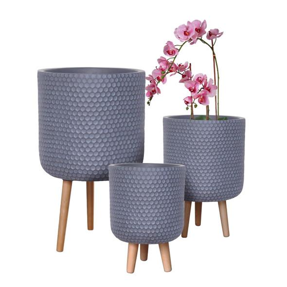 Honeycomb Fibrestone Cylinder Planter with Feet