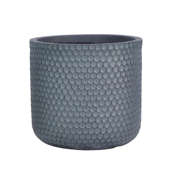 Grey/Green Fibrestone Honeycomb Cylinder Planter