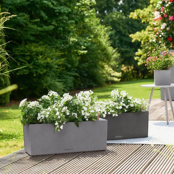 Self-Watering Stone Effect Polyresin Window Box Planter with Substrate