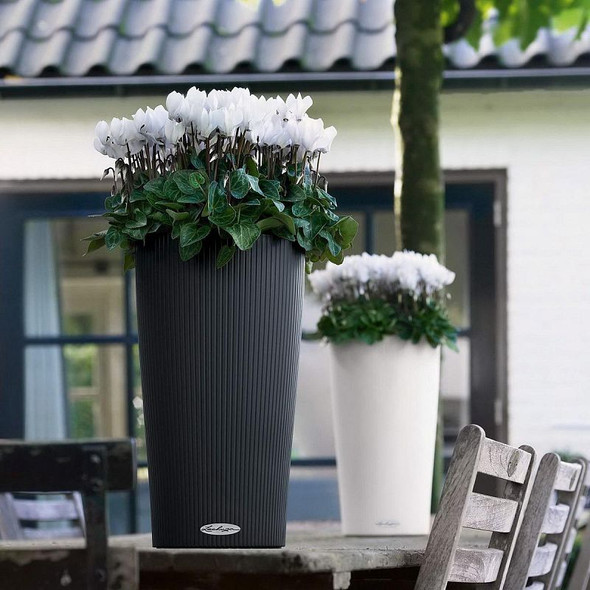 Self-Watering Matt Ribbed Polyresin Round Column Planter with Substrate