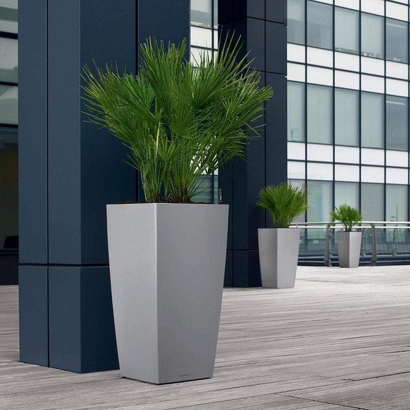 Self-Watering Metallic/Glossy Polyresin Column Planter with Substrate