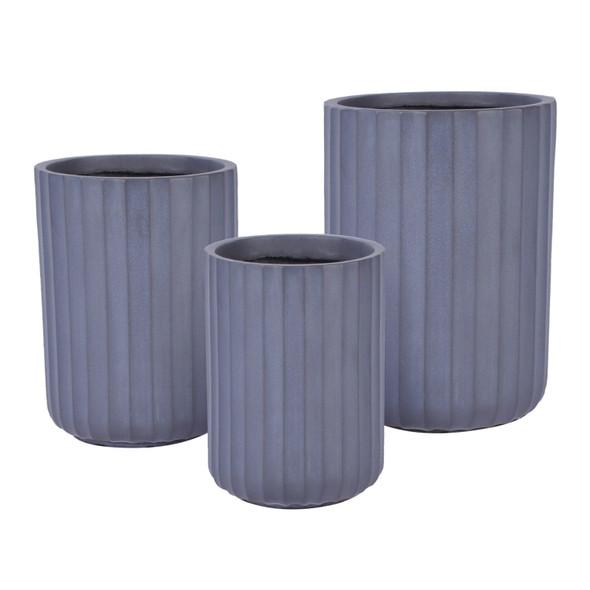 Wide Ribbed Fibrestone Cylinder Planter