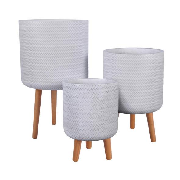 Basket Weave Fibrestone Cylinder Planter with Feet